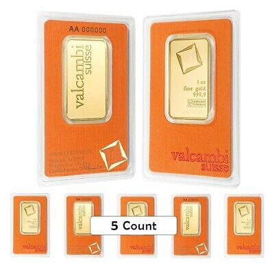 Lot of 5 - 1 oz Gold Bar Valcambi Suisse .9999 Fine (In Assay)