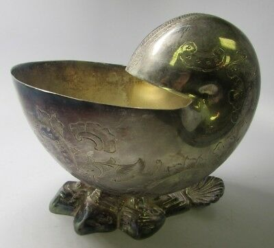 Antique Victorian Etched Silverplate Nautilus Shell Shaped Spoon Warmer