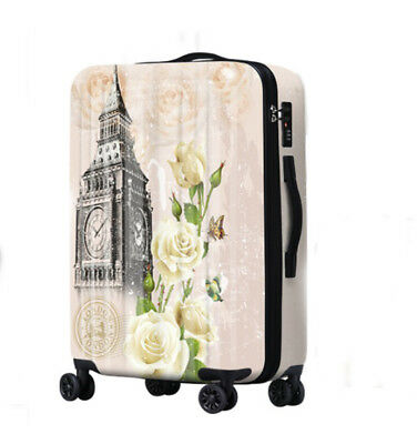 D306 Lock Universal Wheel Vintage Pattern Travel Suitcase Luggage 24 Inches W
