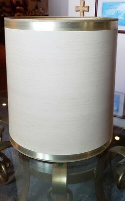 Vintage STIFFEL Drum Barrel Lamp Shade Ivory Cream 16.5 Tall Mid Century Modern