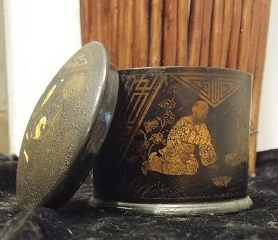 Early 1900's Vintage Chinese Painted Tea Tin/Trinket Box/Match Stick Tin