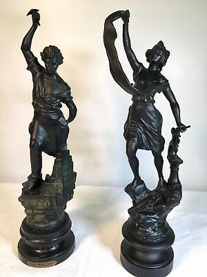 Pair of Antique French Laborer Statues - Mason and Iron Worker
