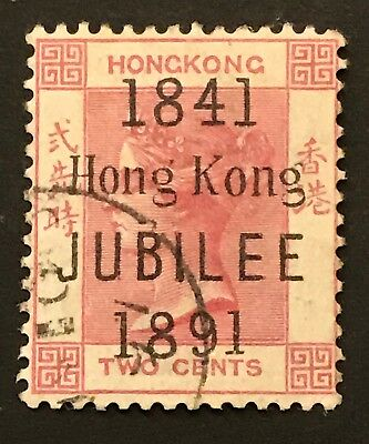 Hong Kong - 1891 2c Carmine 50th Anniversary Opt Fine Used. SG 51.