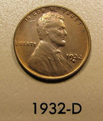 1932-D Lincoln Wheat Cent 1C Penny AU details (almost uncirculated)
