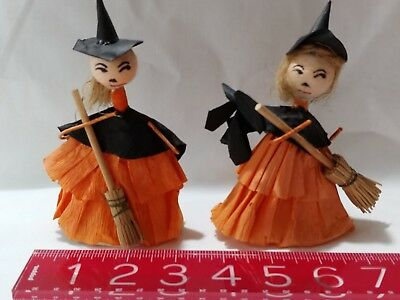 2 Vintage Pipe Cleaner Crepe Paper Witches With Broom Halloween Decoration