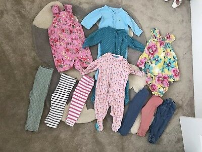 Baby Girls 9-12 Months Clothes Bundle Leggings Dungarees Tshirts Sleepsuits