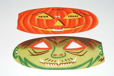 1940's Clark Teaberry Tendermint Gum Candy Halloween Monster Mask Jack O'Lantern