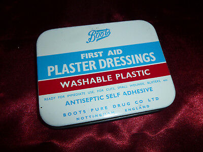 Vintage First Aid PLASTER DRESSINGS TIN from BOOTS | Storage Collectible Prop
