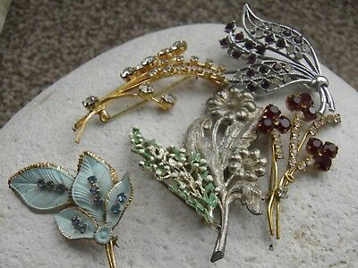 6 X Vintage Brooches Jewellery