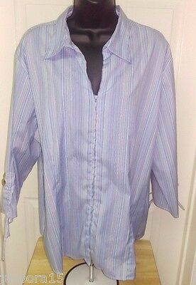 DCC Womens Plus Light/Dark Blue/White Striped Zipper Front Shirt Top Size 1X