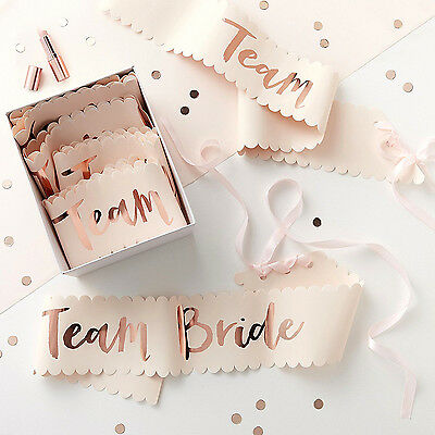 HEN PARTY Rose Gold TEAM BRIDE SASHES Quality Boxed Gift Team Bride Party Ribbon