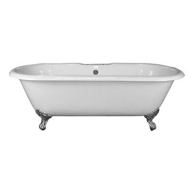 Barclay CTDR7H61-WH-PB Cast Iron Double Roll Top Tub White/Polished Brass