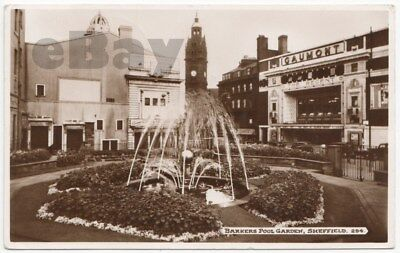 Cartolina d'epoca: UK, Sheffield (Yorkshire) Barkers Pool Garden - posted 1956