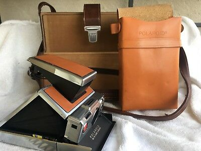 CLEAN Polaroid SX-70 Instant Film Land Camera w Large AND Small Carrying Cases
