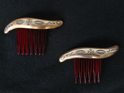 """Pair of Vintage Mid-Century Stamped Copper Hair Combs, Native Designs, 3"""""""