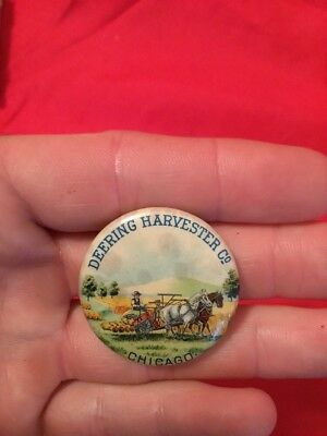 Antique Farm Equipment Advertising Pin Back Button Deering Harvester Co
