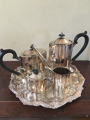 LUNT SILVERSMITHS SILVERPLATE COFFEE TEA SET with Tray