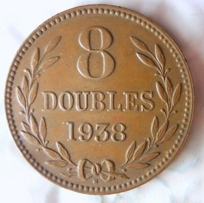 1938 GUERNSEY 8 DOUBLES - AU - High Quality Scarce Coin - Lot #816