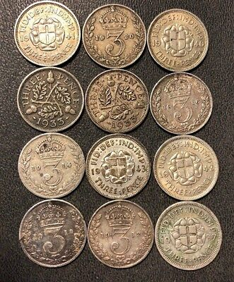 Vintage Great Britain Coin Lot! 1912-1942 - 3 PENCE - 12 Silver Coins - #816