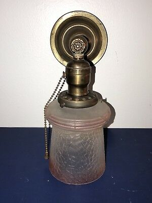 Single Wired Antique Wall Sconce Brass Patina Vintage Shade 61E