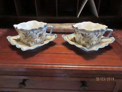 Very Rare Antique Mr. & Mrs Square Cup And Saucer Set, Moustache Cup For Him