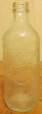 "Vintage 6.5"" tall Pepsi Cola 10 oz Clear Glass Soda Pop Bottle"