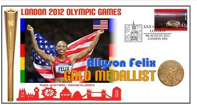ALLYSON FELIX 2012 OLYMPIC USA 200m GOLD MEDAL COVER