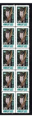Black & White Nth American Owl Strip Of 10 Mint Stamps1