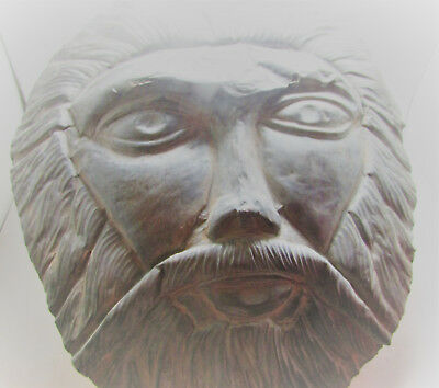 Unique Old Western Asiatic Silvered Face Mask Bearded Male Figure