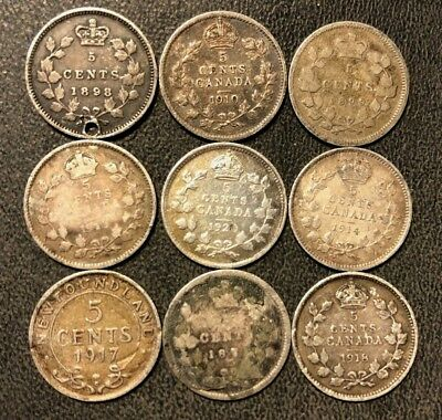 Old Canada Coin Lot - 1878-1941 - SILVER 5 CENTS - Rare Types - Lot #816