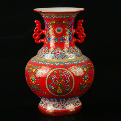 Chinese Porcelain Hand-Painted Pattern Vase Mark As The Qianlong Period R1055