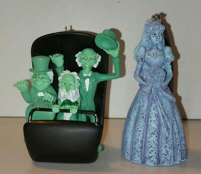 Disney Haunted Mansion Widow Bride Hitchhiking Ghost Buggy Ornament Set Of 2