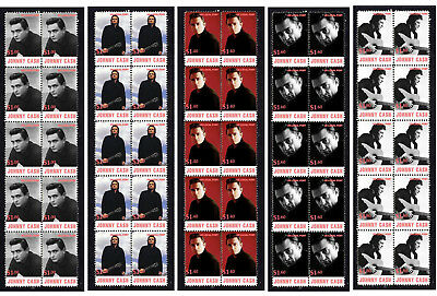 Johnny Cash Country Music Legend Set Of 5 Stamp Strips
