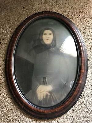 Antique Picture Oval Frame Bubble Glass Old Woman