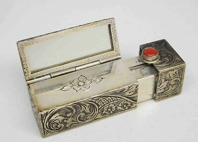 Vintage Chased 800 Silver Lipstock Compact Case w/ Mirror & Coral Cabochon #515z