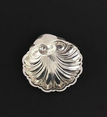 Sterling Silver Butter Pat Nut Candy Dish Shell JENNINGS .925 Monogram M