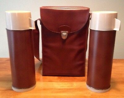 Vintage Stanley Aladdin Dual Thermos Picnic Lunch Set With Original Carry Case