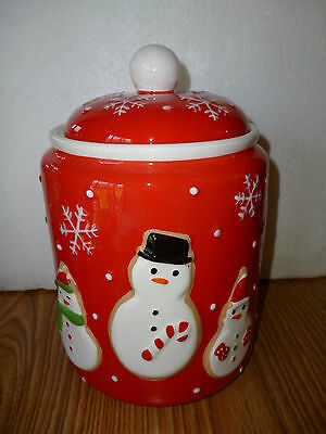 Hallmark Snowman  Ceramic Cookie Jar  Red with White Snowflakes  NEW in Box