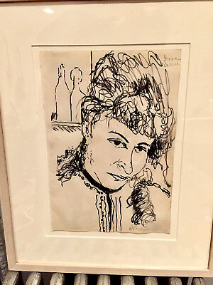 Bob Thompson original signed framed ink drawing by african american artisit