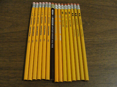 Lot of 15 Vintage Wooden Pencils Faber Castell Papermate Dixon Empire Wallace