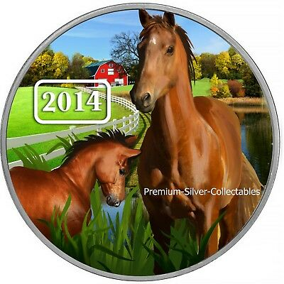 """2014 Tokelau """"Year of the Horse""""  1 Ounce Pure Silver Colorized Coin Series!!"""