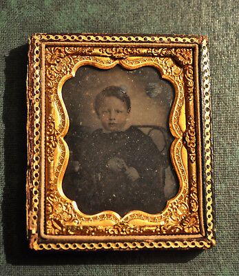 Ambrotype of Young Boy in Chair - Ninth-plate size -Hand-Tinted - No lid on case