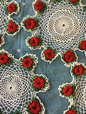 Set Of Six Crochet Doilies - White With Red Rosettes - Varying Sizes