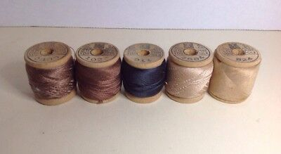 5 Vintage Spools Of CORTICELLI Silk Darning Thread Cat Face On Spools