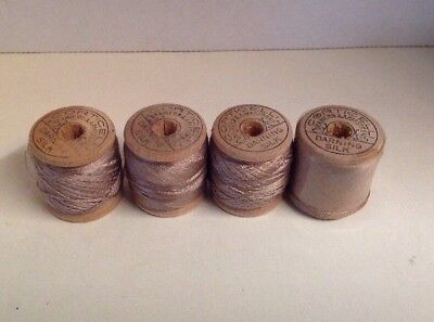4 Vintage Spools Of CORTICELLI Silk Darning Thread Color #858 Cat Face On Spools