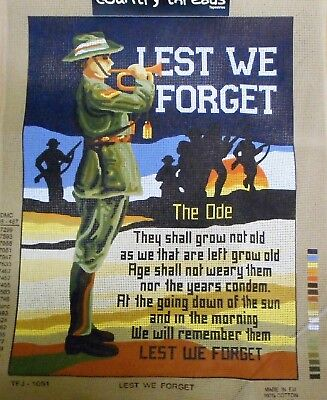LEST WE FORGET (ANZAC ODE) -Tapestry/Needlepoint to Stitch (NEW) Country Threads