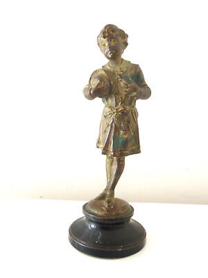 Fine Antique Gilt Bronze Figure Of Young Boy In 18Th Century Dress