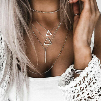 1pc Women Vintage Triangle Pendant Long Chain Necklace Sweater Statement Jewelry