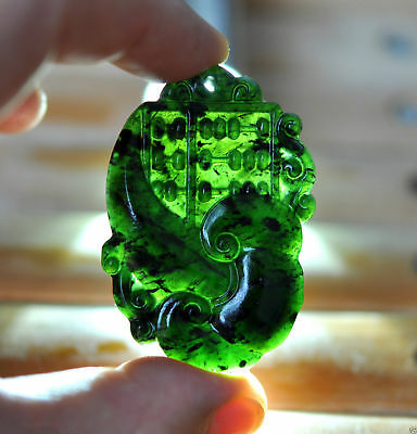 Exquisite Hand Carved Chinese Natural Hetian Jade Black jade Pendant