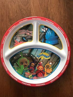 TELETUBBIES Child's Divided PLATE Melamine Dishwasher Safe Clean Dish Dipsy Po